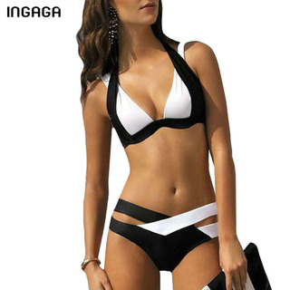 43031b502e3d INGAGA Summer 2017 New Women Sexy Bikini Set Push Up Badkläder Badkläder  Cross Double Halter Swim